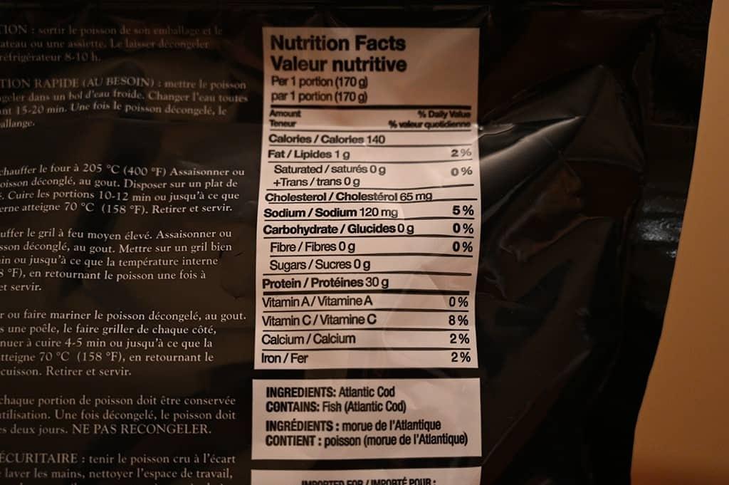 Costco Kirkland Signature Cod Nutrition Information
