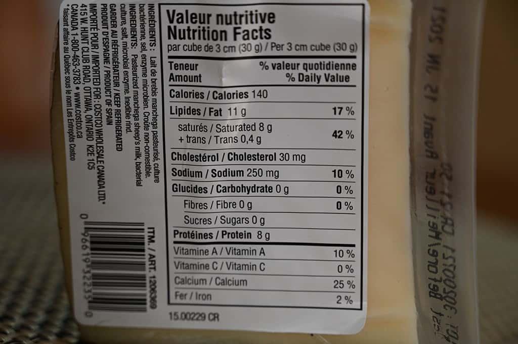 Costco Kirkland Signature Manchego Cheese Nutrition