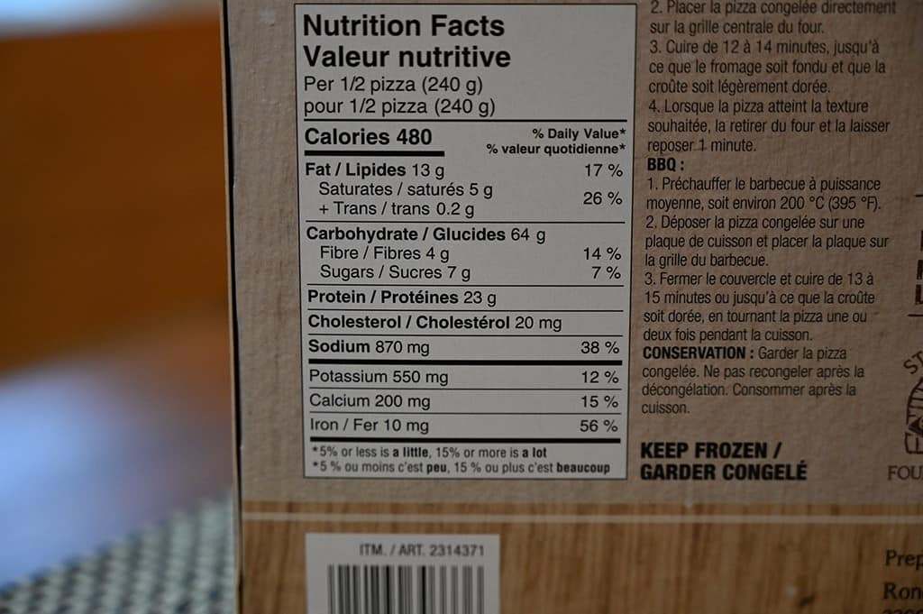 Costco Pizza Roncadin Chicken & Grilled Peppers Pizza Nutrition Information