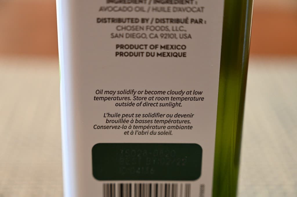Costco Chosen Foods Avocado Oil
