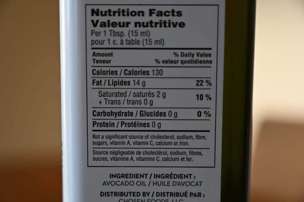 Costco Chosen Foods Avocado Oil Nutrition Information