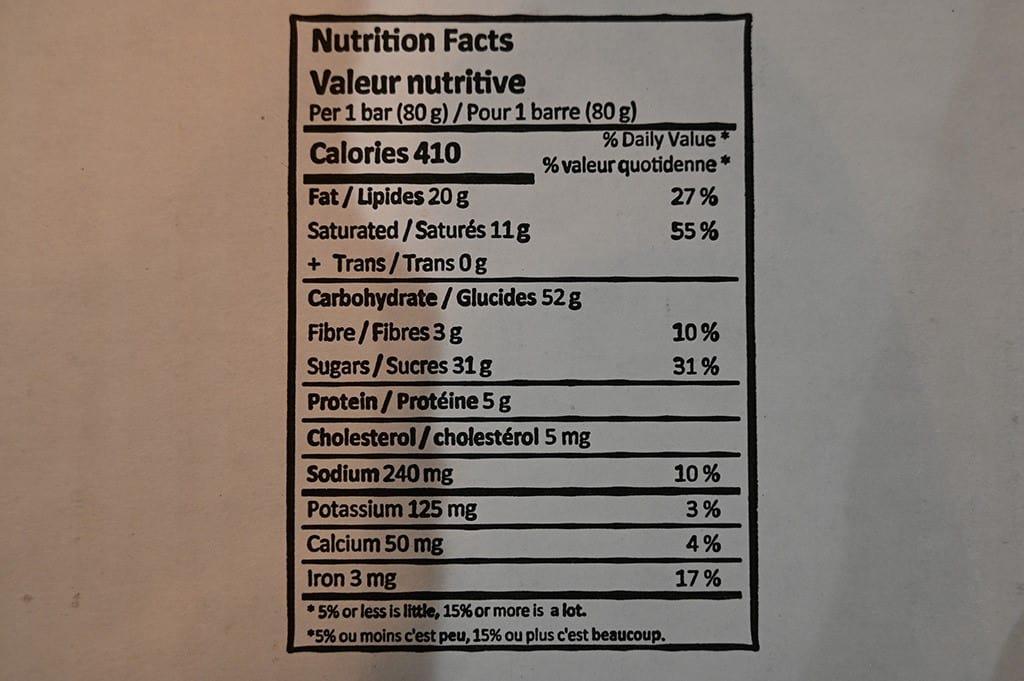 Costco Monte Cristo Oat Fudge Bars Nutrition Information