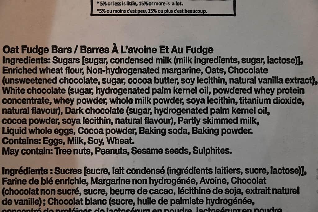 Costco Monte Cristo Oat Fudge Bars Ingredients