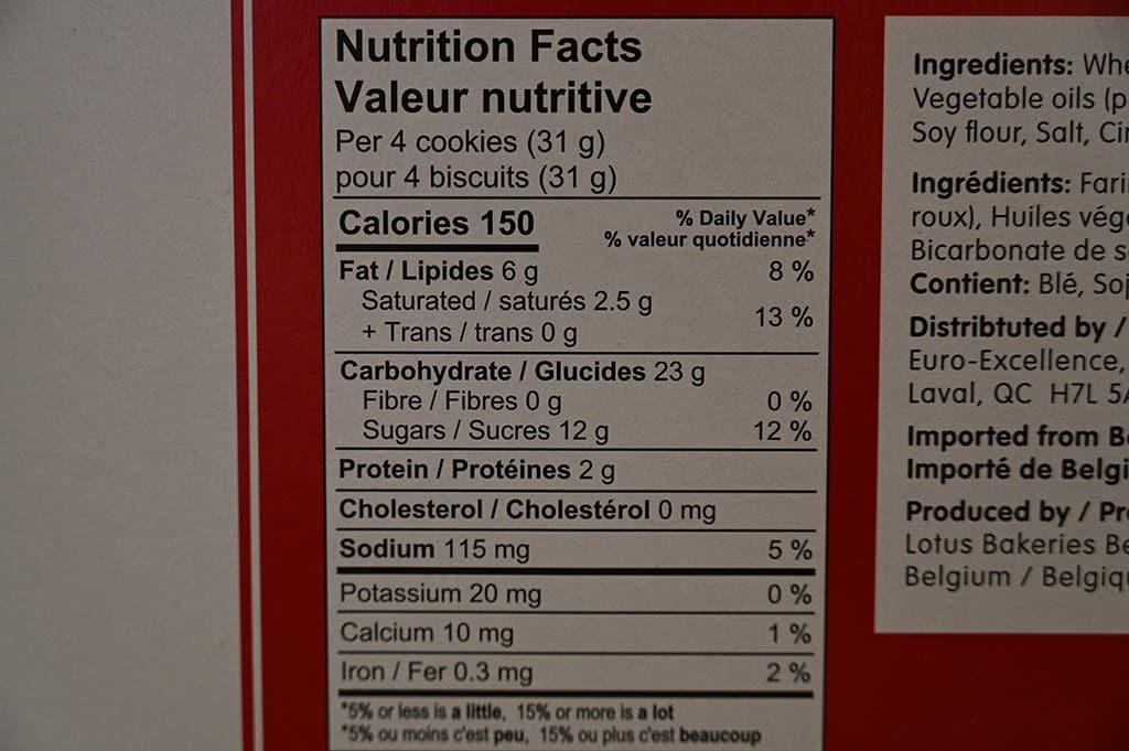 Costco Lotus Biscoff Cookies Nutritional Information