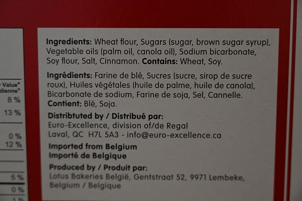 Costco Lotus Biscoff Cookies Ingredients