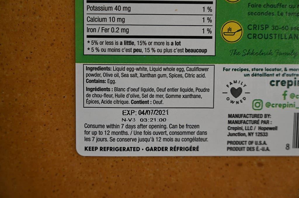 Costco Crepini Egg Wraps Ingredients