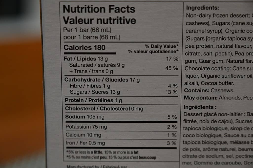 Costco So Delicious Dipped Salted Caramel Frozen Dessert Bars Nutrition
