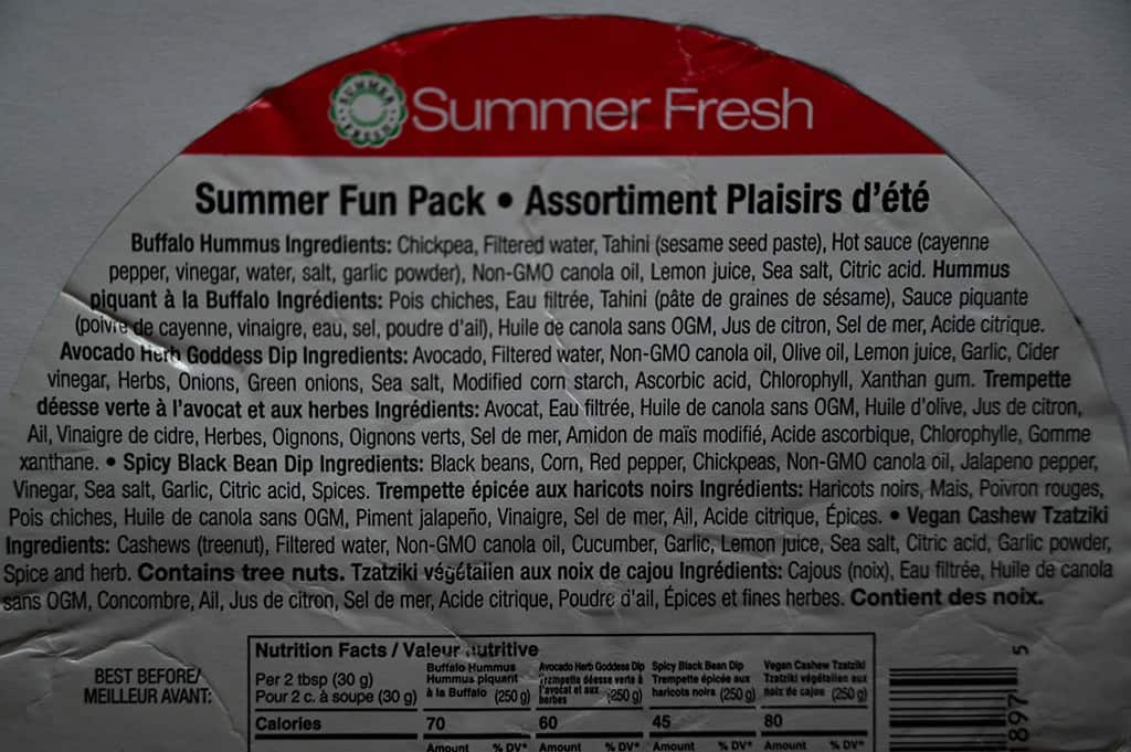 Costco Summer Fresh Summer Fun Pack Dip Ingredients