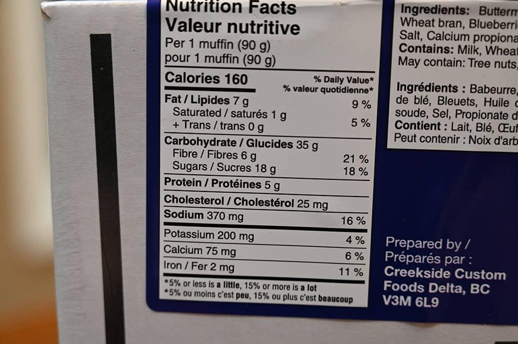 Costco Bread Garden Blueberry Burst Bran Muffins Nutrition Information