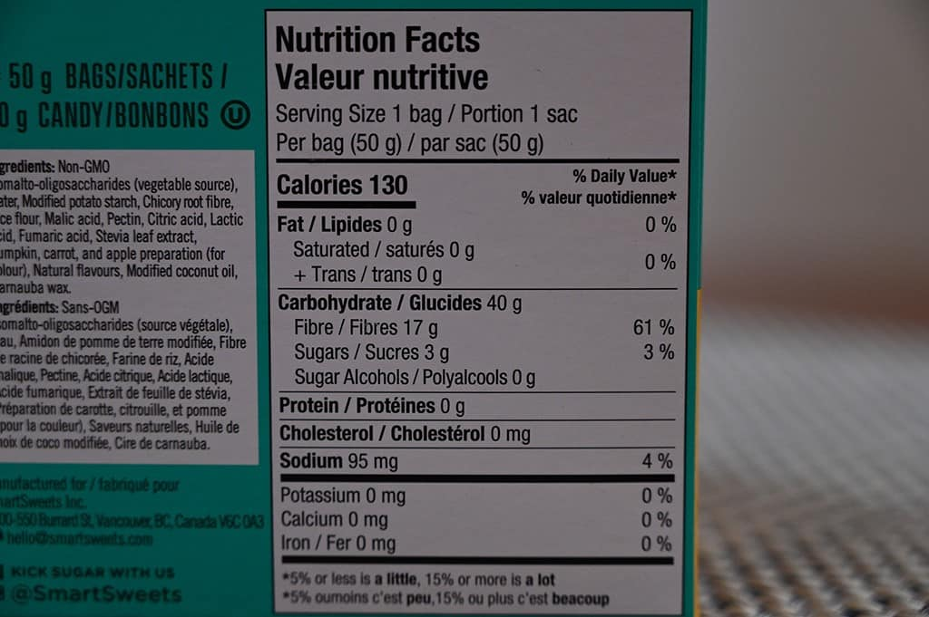 Smart Sweets Peach Rings Nutritional Information