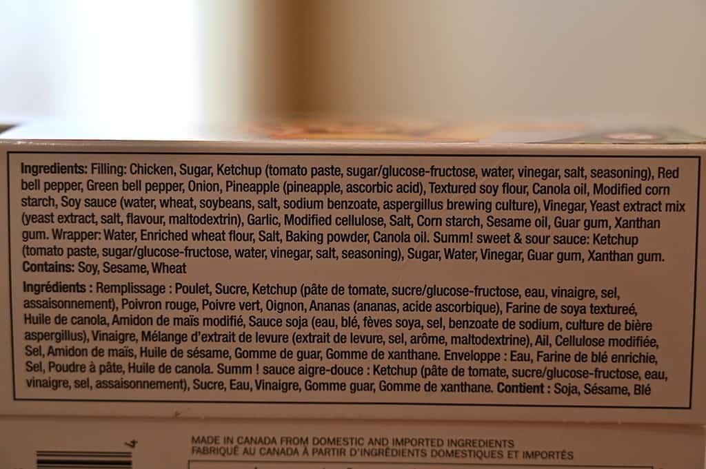 Costco Summ! Sweet & Sour Chicken Spring Rolls Ingredients