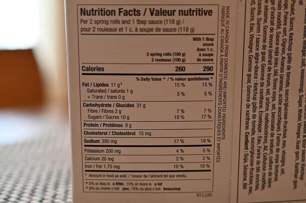 Costco Summ! Sweet & Sour Chicken Spring Rolls Nutritional Information