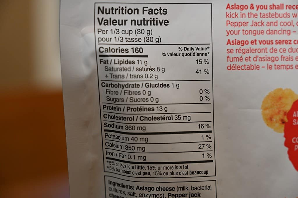 Costco Whisps Asiago Pepper Jack Cheese Crisps nutrition
