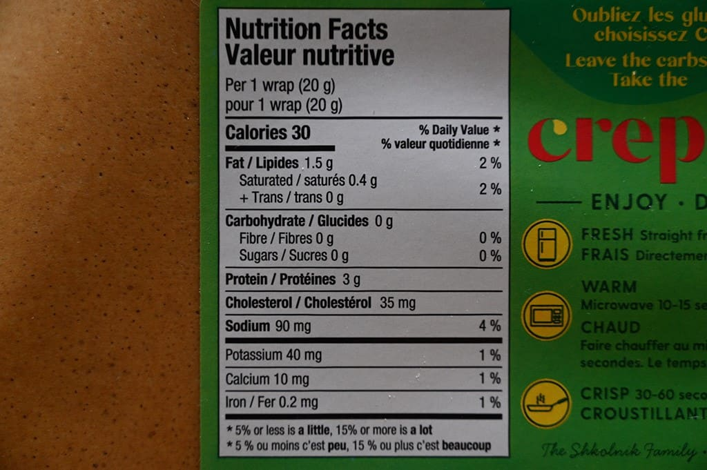 Costco Crepini Egg Wraps Nutrition Information