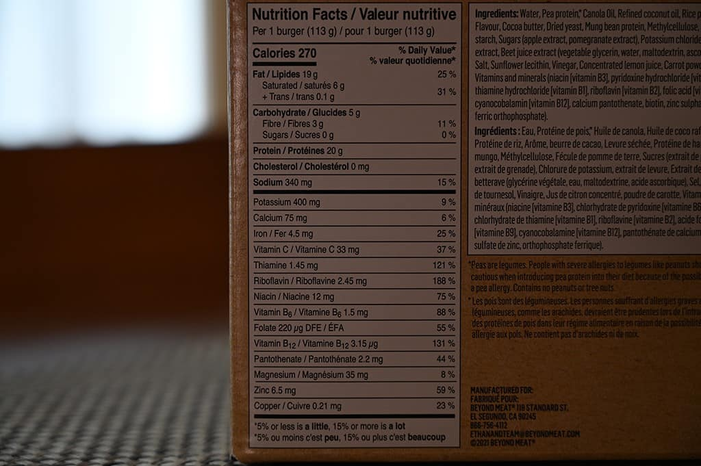 Costco Beyond Meat Beyond Burger Nutrition Information
