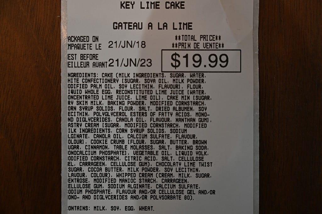 Costco Kirkland Signature Key Lime Cake Ingredients