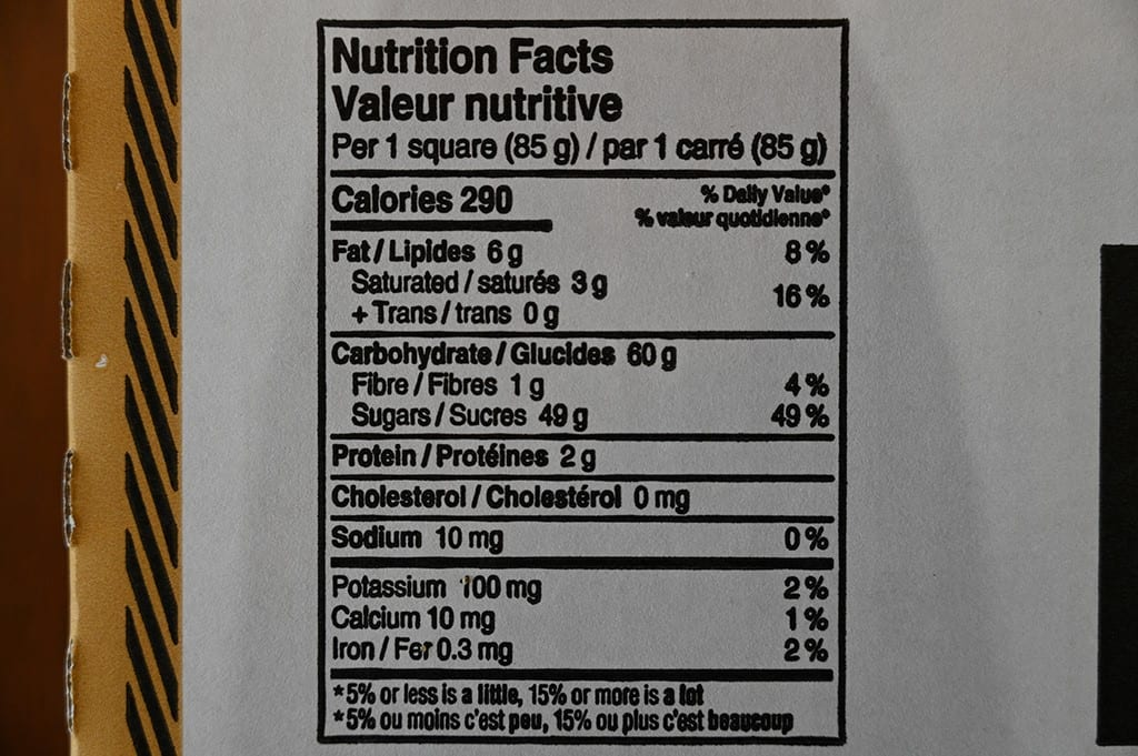 Costco Byblos Bakery Date Squares Nutritional Information