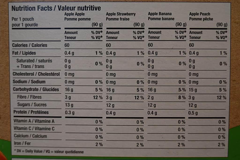 Costco GoGo Squeez Organic Apple Sauce Nutritional Information
