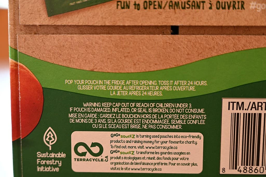 Costco GoGo Squeez Organic Apple Sauce Pouches Use Within 24 Hours