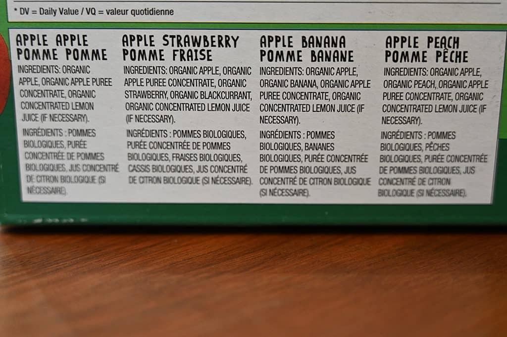 Costco GoGo Squeez Organic Apple Sauce Ingredients