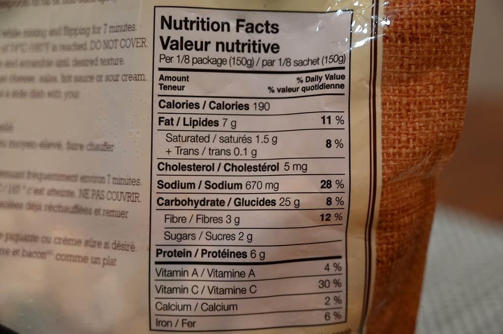 Costco Spudlers Breakfast Hash Nutritional Information