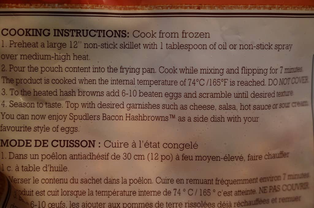 Costco Spudlers Breakfast Hash Cooking Instructions