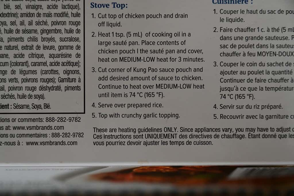 Costco EastWest Cuisine Kung Pao Chicken Cooking Instructions