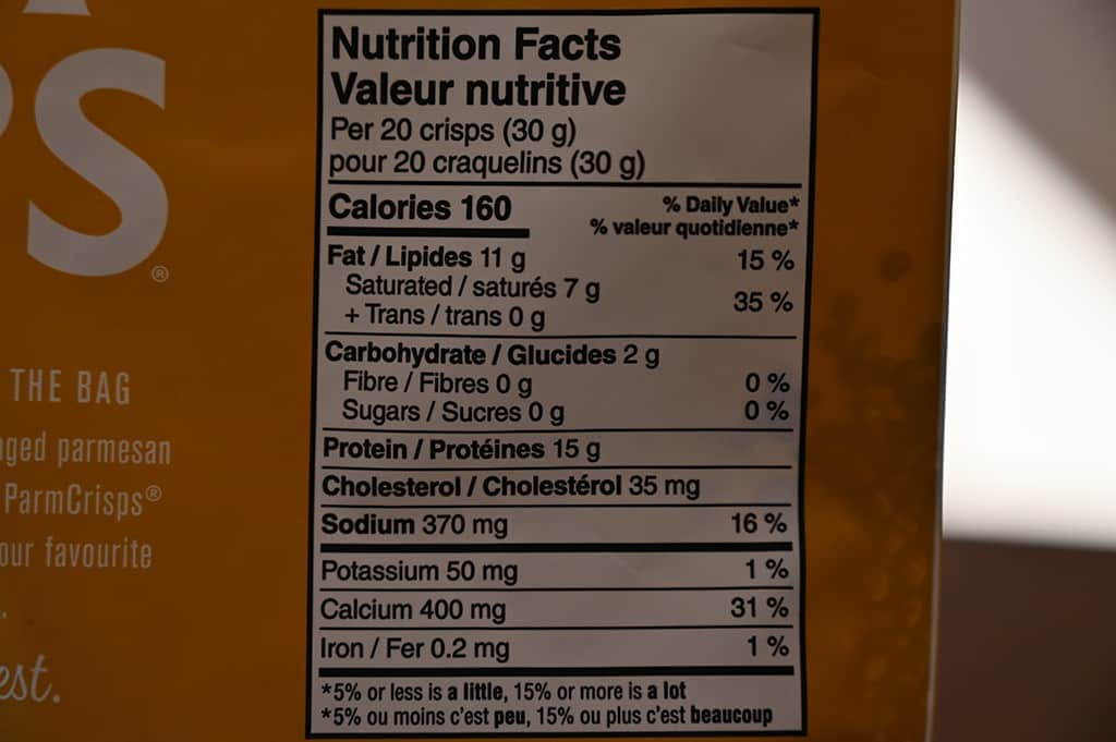 Costco Everything Parm Crisps Nutrition Information