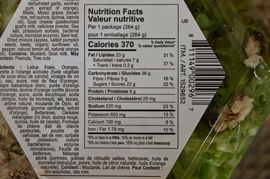 Costco Inspired Salads Unbeetable Salad Nutritional Information