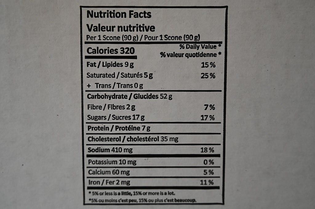 Costco Monte Cristo Whole Wheat Blueberry Scones Nutrition Information