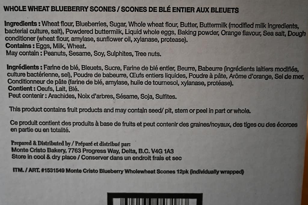 Costco Monte Cristo Whole Wheat Blueberry Scones Ingredients