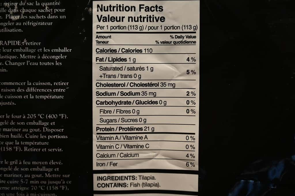 Costco Kirkland Signature Tilapia Loins Nutrition Facts