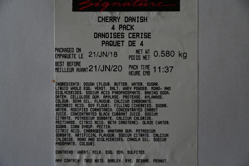 Costco Kirkland Signature Cherry Danish Ingredients