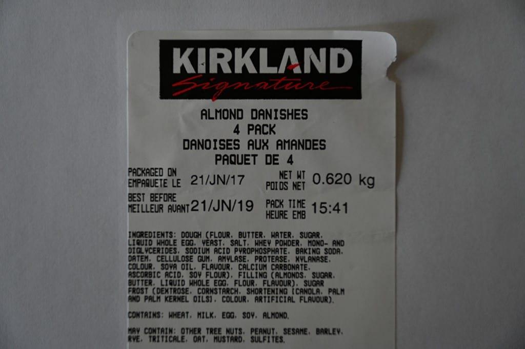 Costco Kirkland Signature Almond Danishes Ingredients