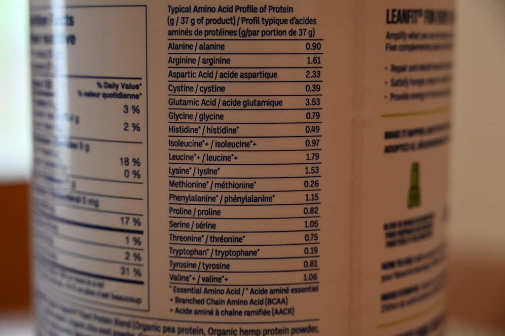 Costco Leanfit Organic Plant-Based Chocolate Protein Ingredients