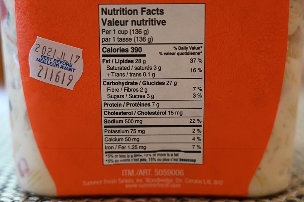 Costco Summer Fresh Macaroni Salad Nutrition Information