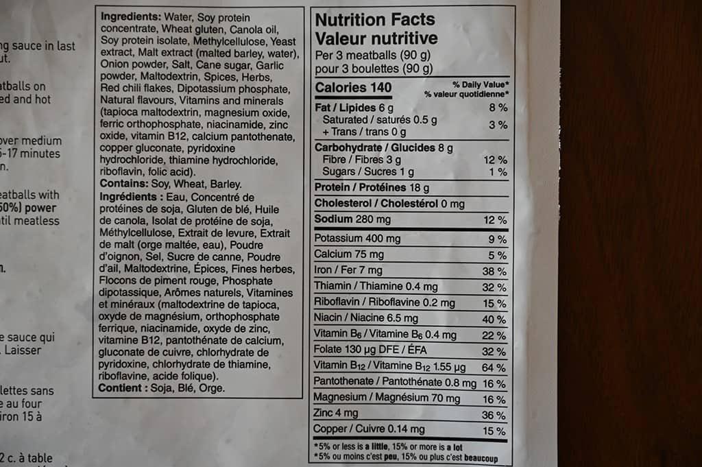 Costco Gardein Meatless Meatballs Nutrition Information