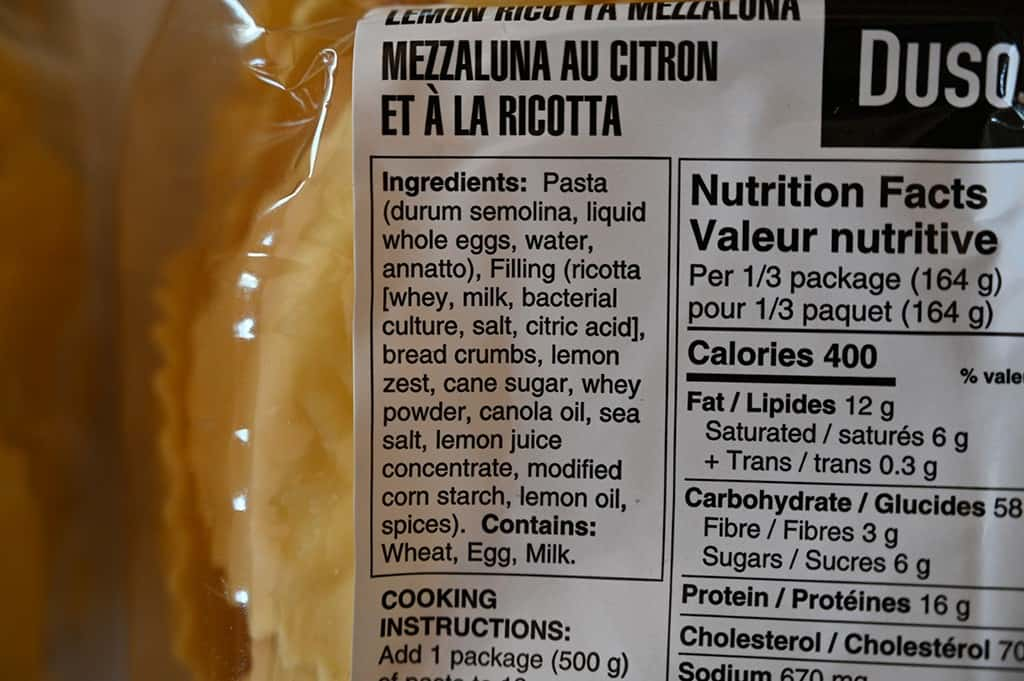 Costco Duso's Lemon Ricotta Mezzaluna Ingredients