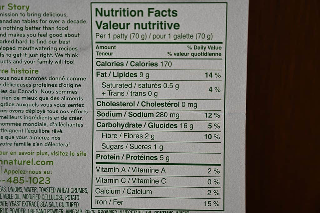Costco oh naturel! Spinach & Chickpea Patties Nutritional Information