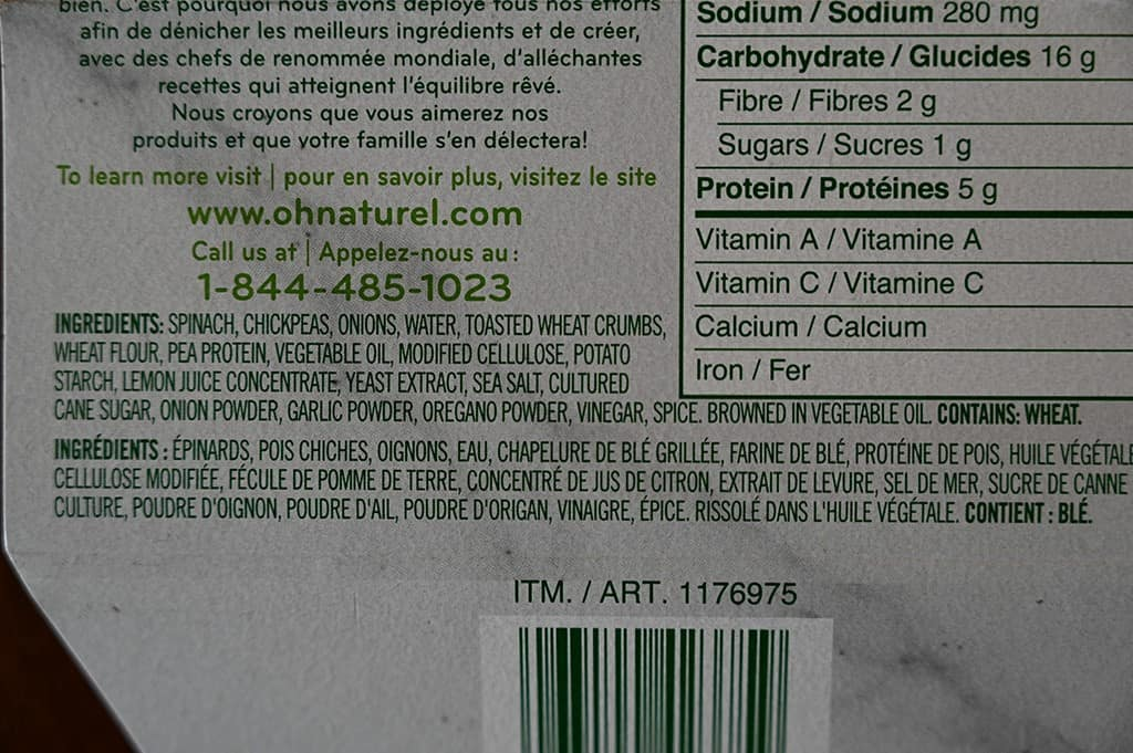 Costco oh naturel! Spinach & Chickpea Patties Ingredients