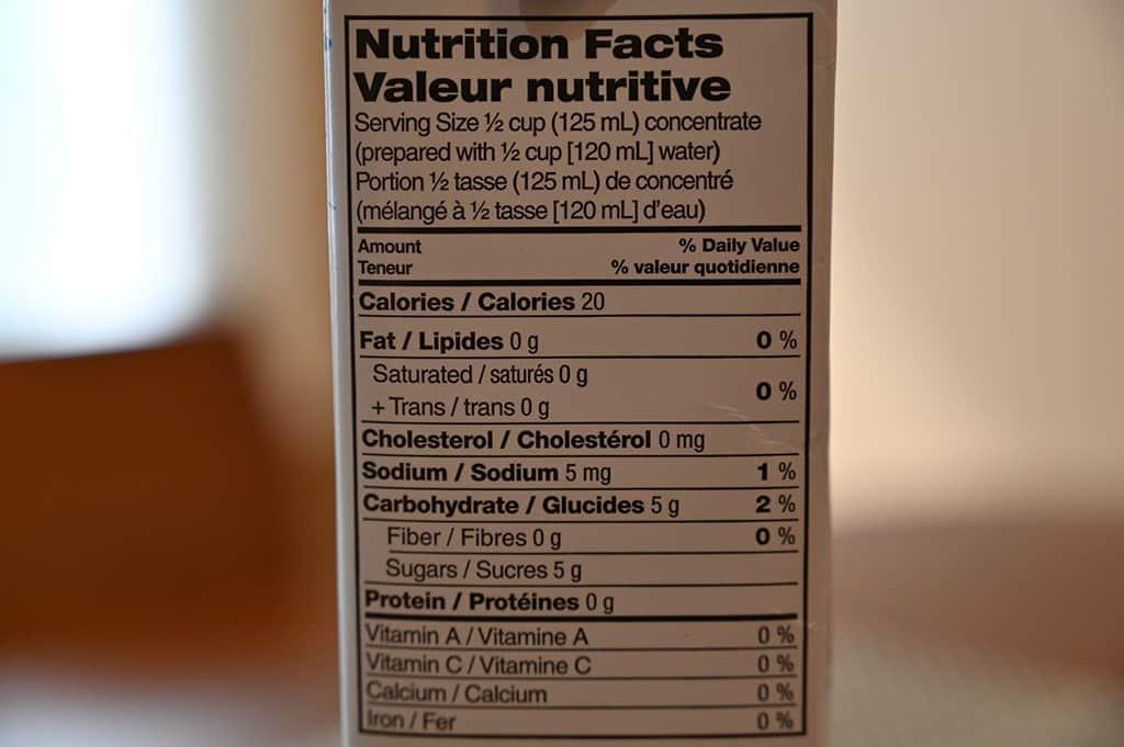 Costco Tazo Iced Passion Tea Nutrition Information