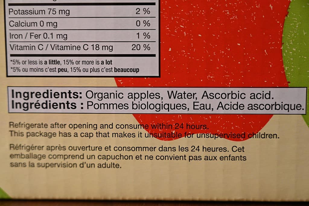 Costco Kirkland Signature Apple Snack Ingredients