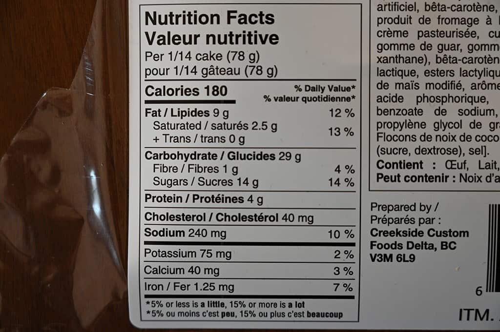 Costco Bread Garden Pineapple Cake Nutritional Information
