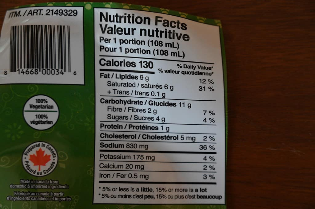 Costco KFI Coconut Curry Cooking Sauce Nutrition Information