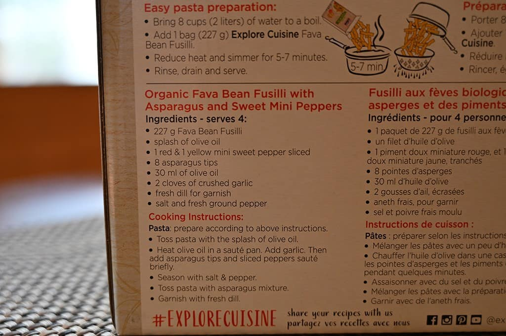 Costco Explore Cuisine Organic Fava Bean Fusilli Cooking Instructions