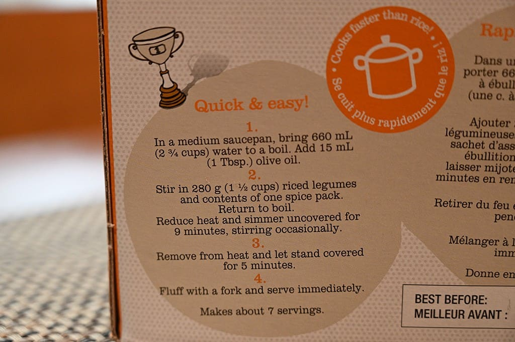 Costco Pedon More Than Rice Riced Chickpea & Lentils Cooking Instructions