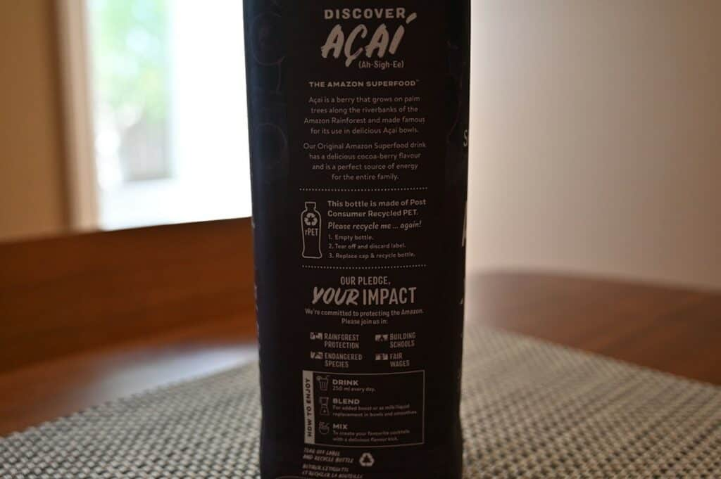 Costco Sambazon Acai Superfood Drink  back of bottle