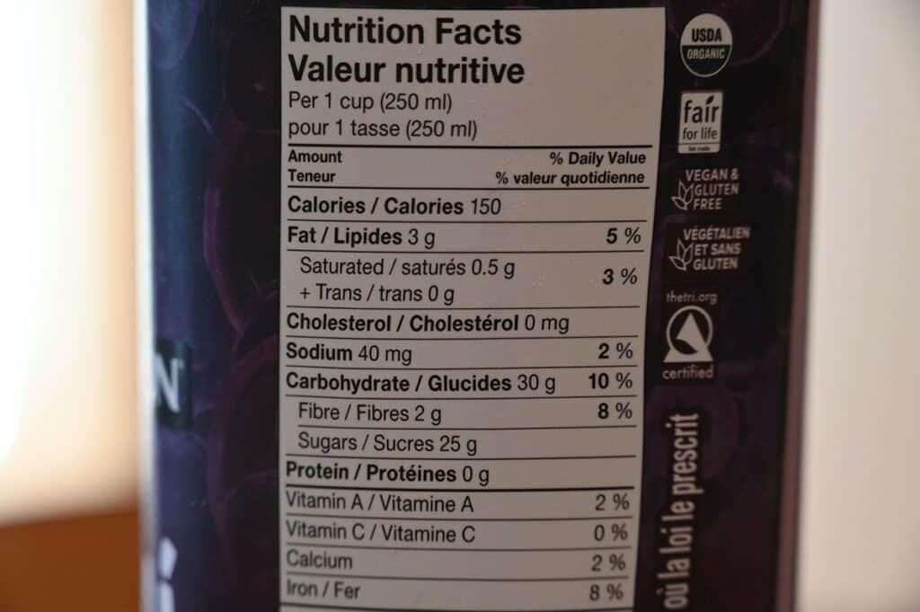 Costco Sambazon Acai Superfood Drink Nutrition Facts