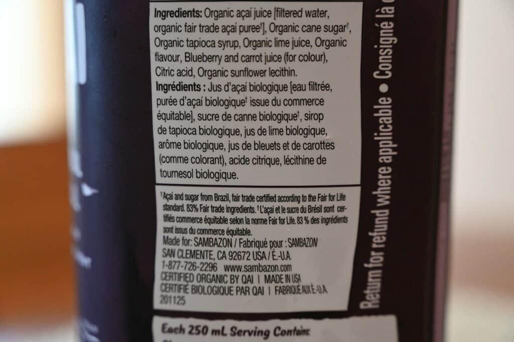 Costco Sambazon Acai Superfood Drink Ingredients