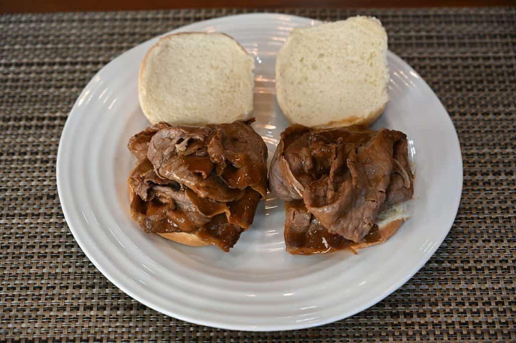 Costco Stoney Creek Shaved Beef Au Jus on a bun